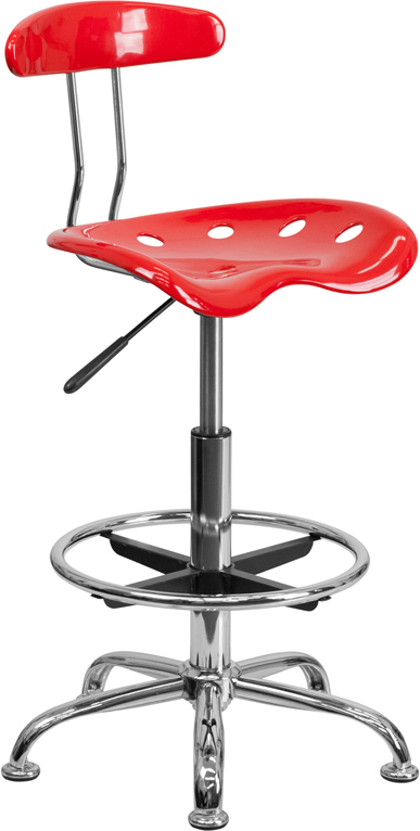 Wholesale Vibrant Red and Chrome Drafting Stool with Tractor Seat
