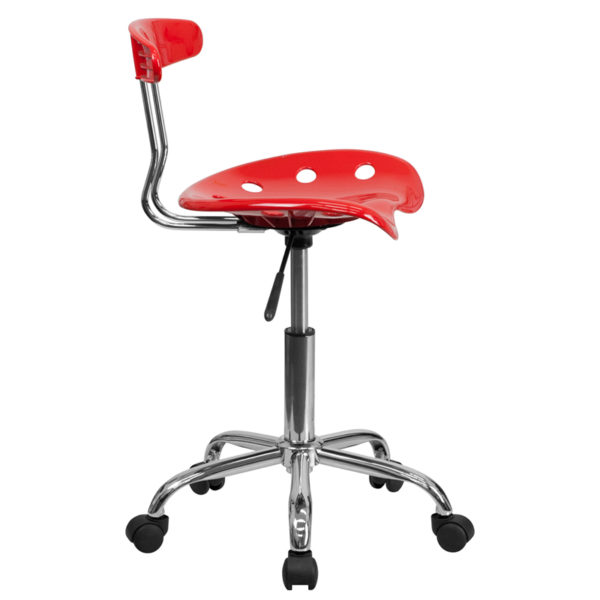 Lowest Price Vibrant Red and Chrome Swivel Task Office Chair with Tractor Seat