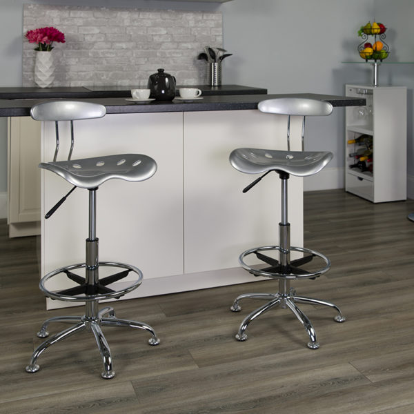 Lowest Price Vibrant Silver and Chrome Drafting Stool with Tractor Seat