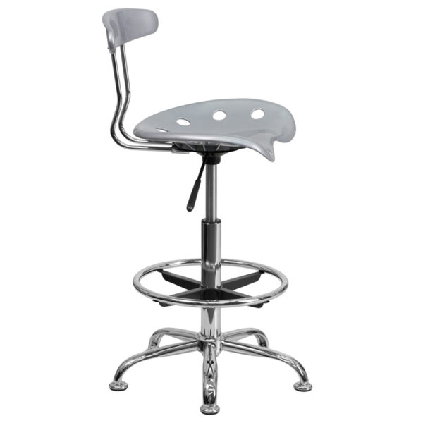 Contemporary Draft Stool Silver Tractor Stool