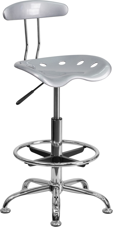 Wholesale Vibrant Silver and Chrome Drafting Stool with Tractor Seat