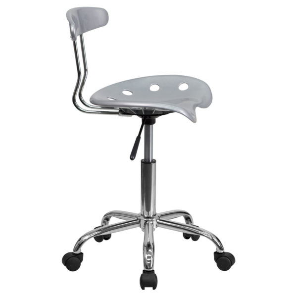 Lowest Price Vibrant Silver and Chrome Swivel Task Office Chair with Tractor Seat