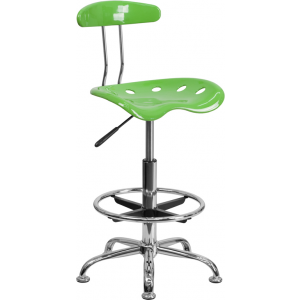 Wholesale Vibrant Spicy Lime and Chrome Drafting Stool with Tractor Seat