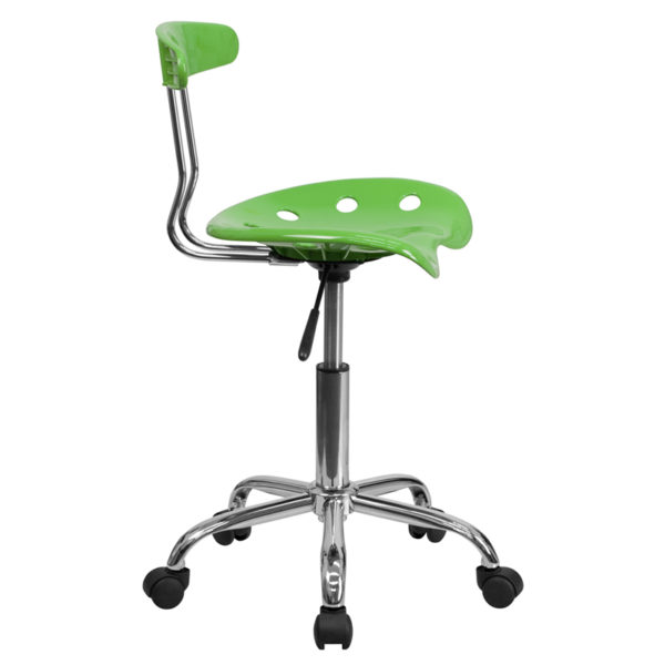 Lowest Price Vibrant Spicy Lime and Chrome Swivel Task Office Chair with Tractor Seat