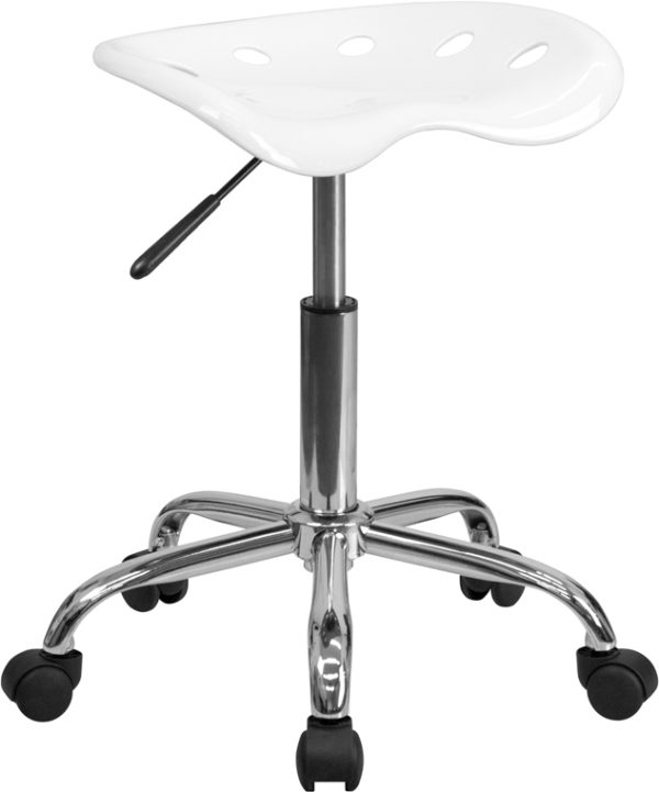 Wholesale Vibrant White Tractor Seat and Chrome Stool