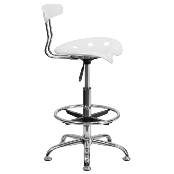 Lowest Price Vibrant White and Chrome Drafting Stool with Tractor Seat