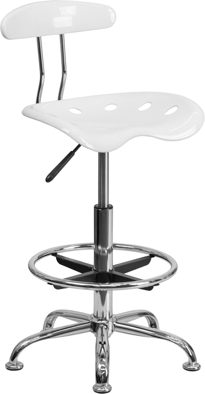 Wholesale Vibrant White and Chrome Drafting Stool with Tractor Seat