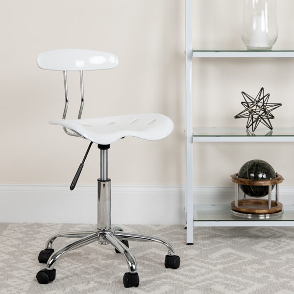Lowest Price Vibrant White and Chrome Swivel Task Office Chair with Tractor Seat