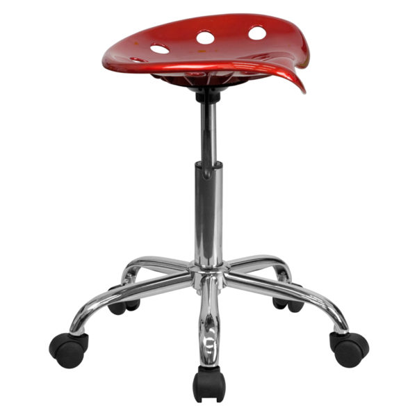 Lowest Price Vibrant Wine Red Tractor Seat and Chrome Stool