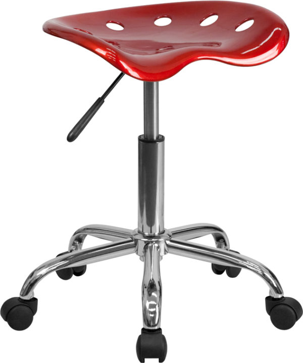 Wholesale Vibrant Wine Red Tractor Seat and Chrome Stool