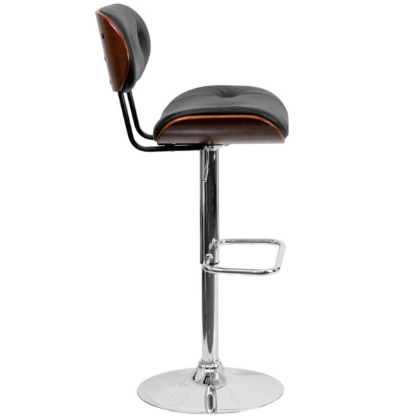 Lowest Price Walnut Bentwood Adjustable Height Barstool with Button Tufted Black Vinyl Seat