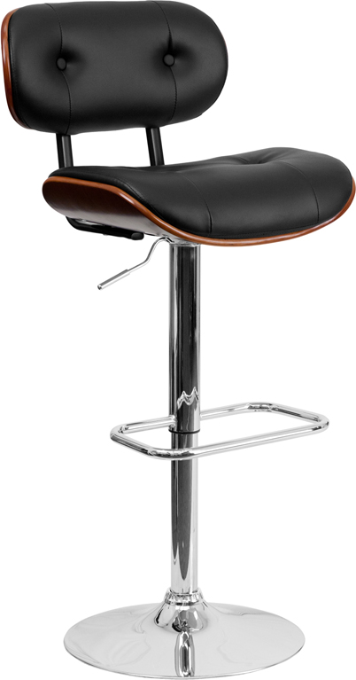 Wholesale Walnut Bentwood Adjustable Height Barstool with Button Tufted Black Vinyl Seat