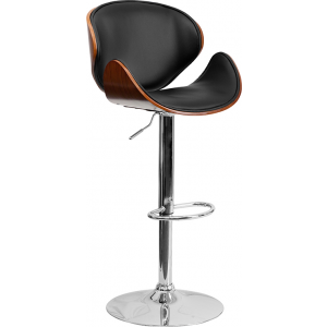 Wholesale Walnut Bentwood Adjustable Height Barstool with Curved Back and Black Vinyl Seat