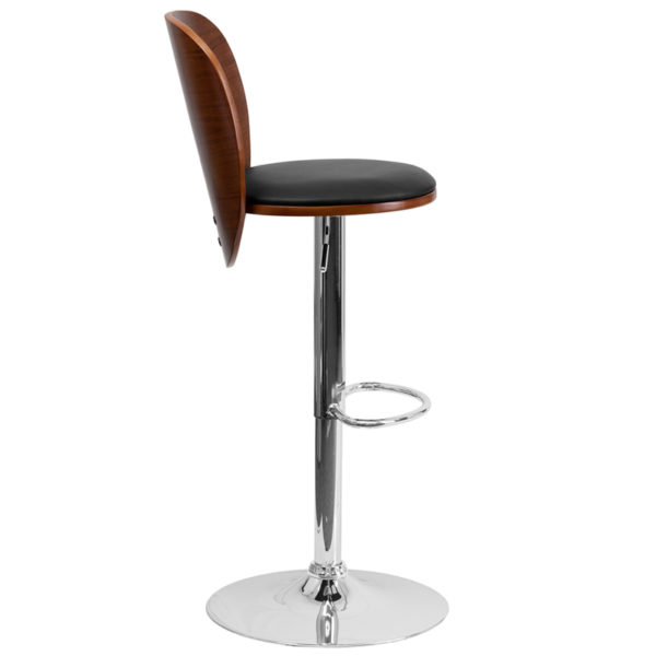 Lowest Price Walnut Bentwood Adjustable Height Barstool with Cutout Extended Back and Black Vinyl Seat