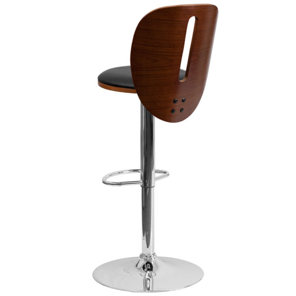 Contemporary Style Stool Walnut Wood Barstool