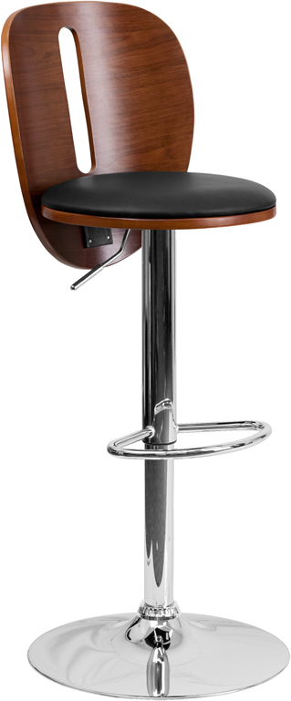 Wholesale Walnut Bentwood Adjustable Height Barstool with Cutout Extended Back and Black Vinyl Seat