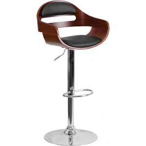 Wholesale Walnut Bentwood Adjustable Height Barstool with Cutout Padded Back and Black Vinyl Seat