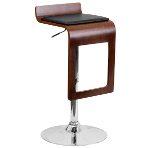 Wholesale Walnut Bentwood Adjustable Height Barstool with Drop Frame and Black Vinyl Seat