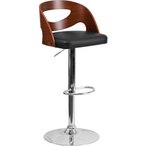 Wholesale Walnut Bentwood Adjustable Height Barstool with Side Panel Cutout Back and Black Vinyl Seat