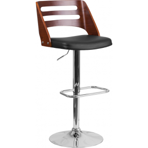 Wholesale Walnut Bentwood Adjustable Height Barstool with Side Panel Slot Back and Black Vinyl Seat