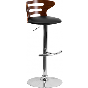 Wholesale Walnut Bentwood Adjustable Height Barstool with Three Slot Cutout Back and Black Vinyl Seat