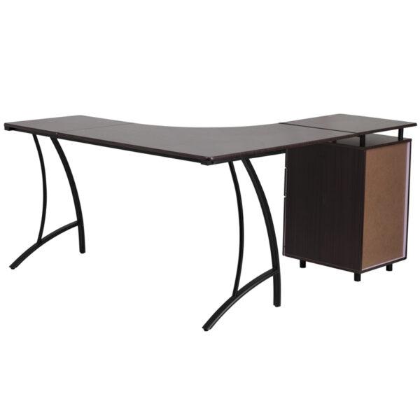 Lowest Price Walnut Laminate L-Shape Desk with Three Drawer Pedestal