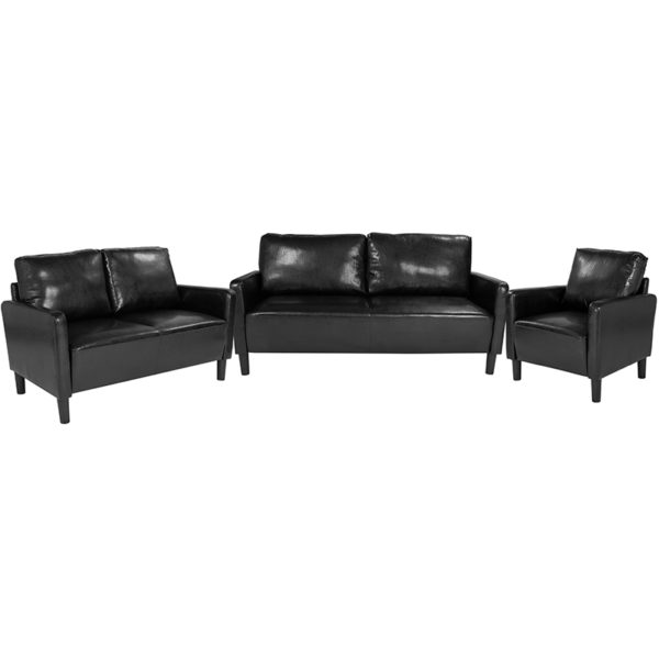 Wholesale Washington Park 3 Piece Upholstered Set in Black Leather