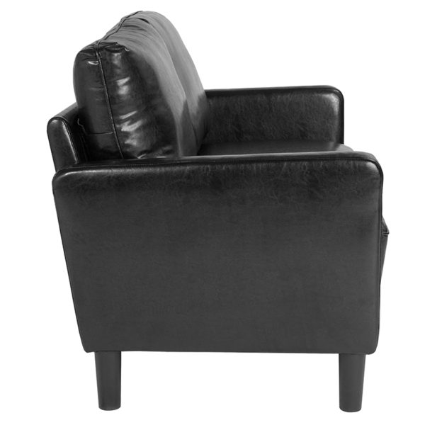 Lowest Price Washington Park Upholstered Loveseat in Black Leather