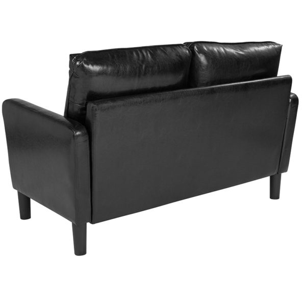 Contemporary Style Black Leather Loveseat