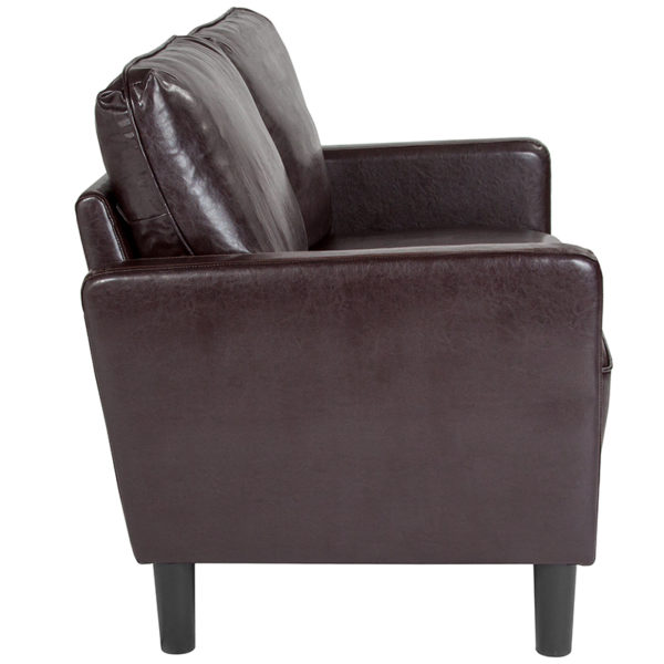 Lowest Price Washington Park Upholstered Loveseat in Brown Leather