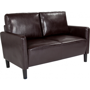 Wholesale Washington Park Upholstered Loveseat in Brown Leather