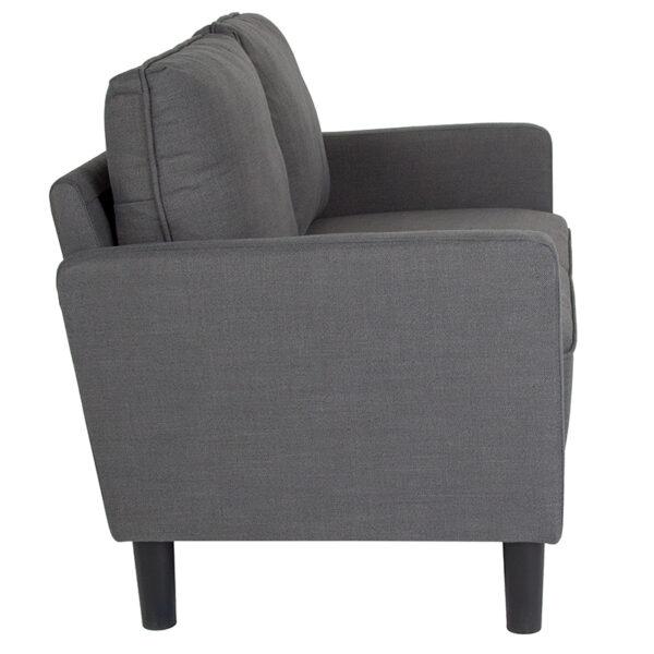 Lowest Price Washington Park Upholstered Loveseat in Dark Gray Fabric