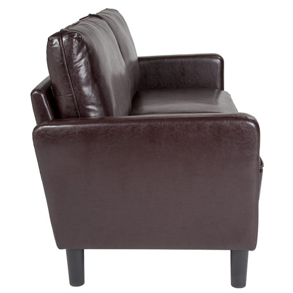 Lowest Price Washington Park Upholstered Sofa in Brown Leather