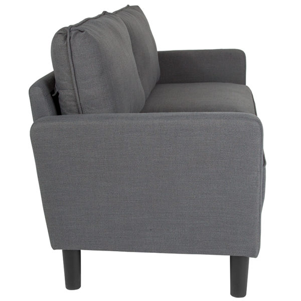 Lowest Price Washington Park Upholstered Sofa in Dark Gray Fabric