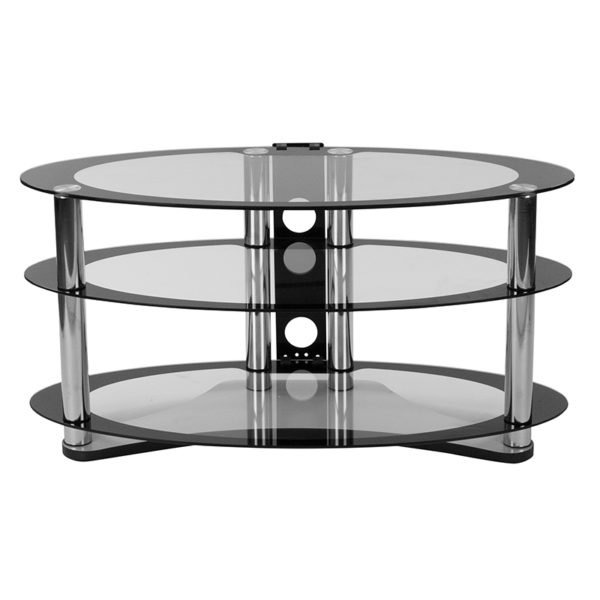 Lowest Price Westchester Two-Tone Glass TV Stand with Shelves and Chrome Tubing