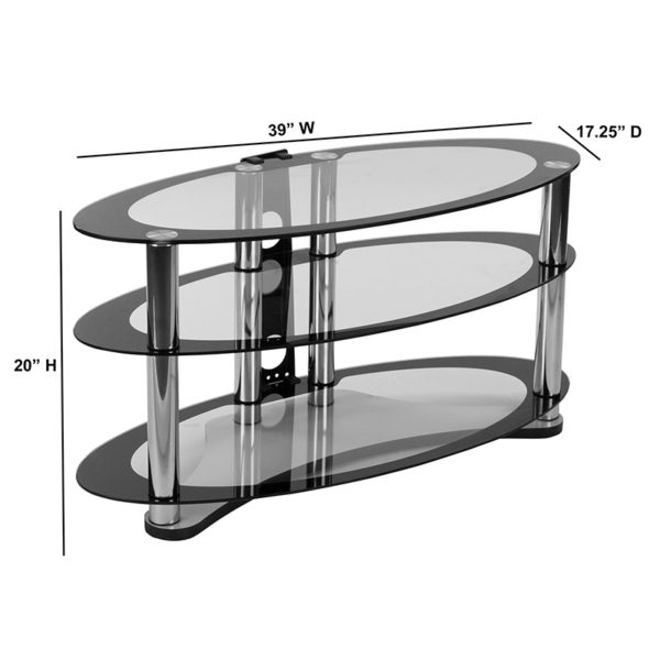 Contemporary Style Two-Tone Oval Glass TV Stand