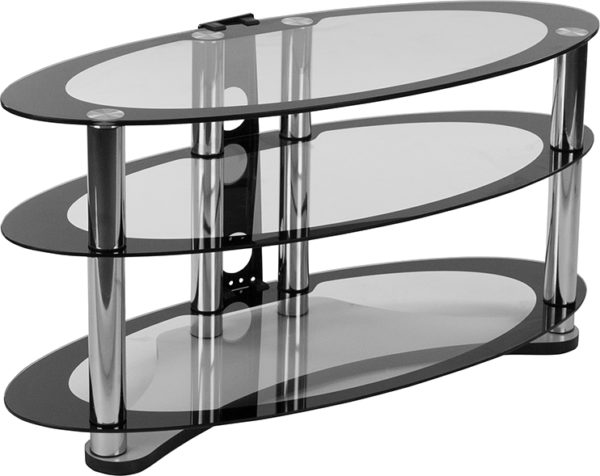 Wholesale Westchester Two-Tone Glass TV Stand with Shelves and Chrome Tubing