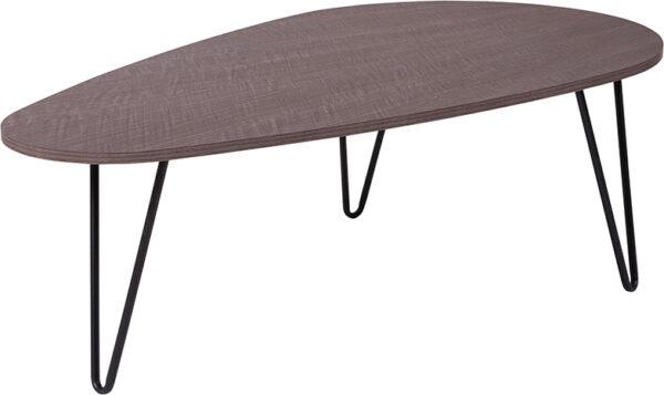 Wholesale Westminster Oak Wood Grain Finish Coffee Table with Black Metal Legs