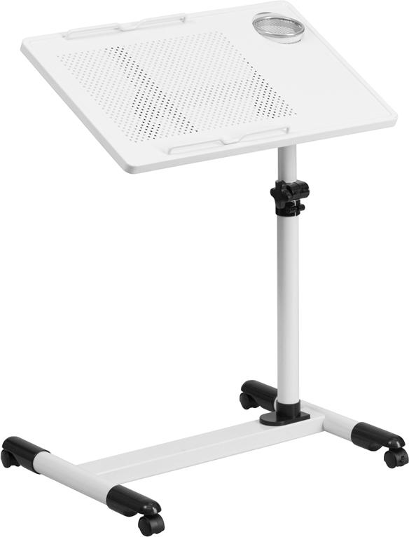 Wholesale White Adjustable Height Steel Mobile Computer Desk