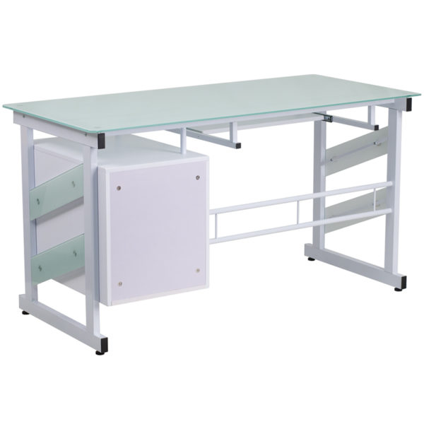 Lowest Price White Computer Desk with Frosted Glass Top and Three Drawer Pedestal