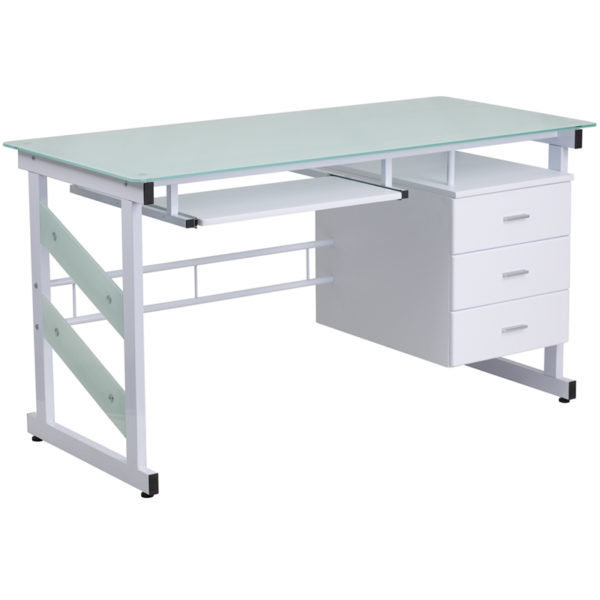 Wholesale White Computer Desk with Frosted Glass Top and Three Drawer Pedestal