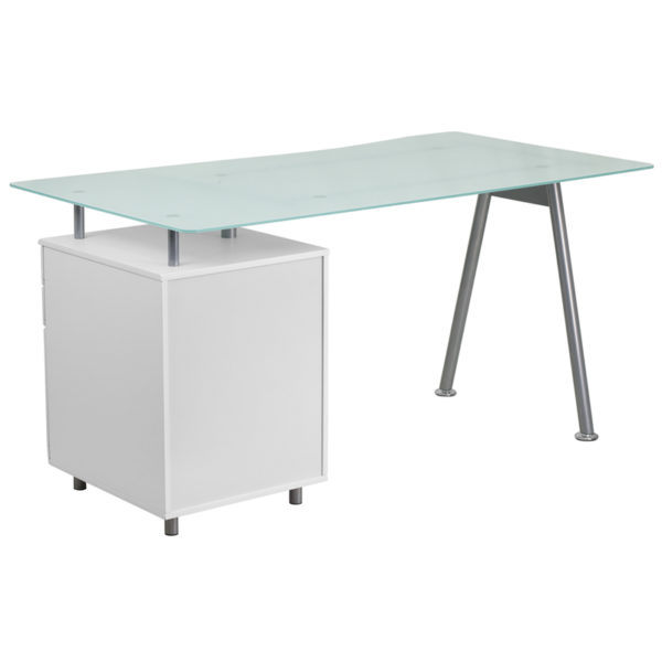 Lowest Price White Computer Desk with Glass Top and Three Drawer Pedestal