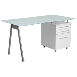 Wholesale White Computer Desk with Glass Top and Three Drawer Pedestal