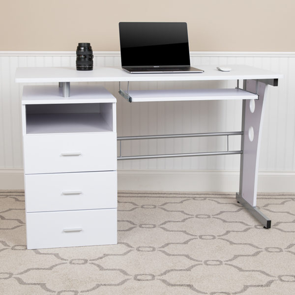 Lowest Price White Desk with Three Drawer Pedestal and Pull-Out Keyboard Tray