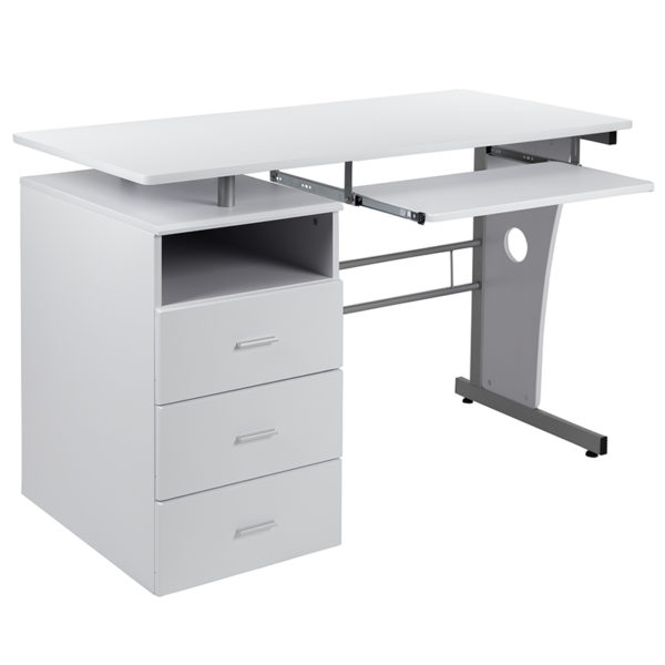 Contemporary Style White 3 Drawer Pedestal Desk