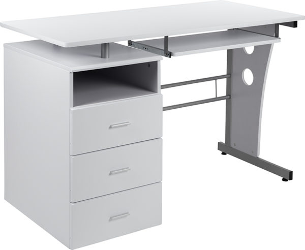 Wholesale White Desk with Three Drawer Pedestal and Pull-Out Keyboard Tray
