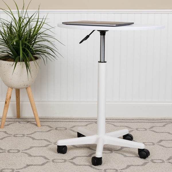 Lowest Price White Sit to Stand Mobile Laptop Computer Desk