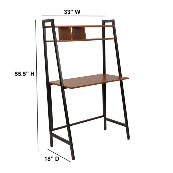 Lowest Price Wilmette Cherry Wood Grain Finish Computer Desk with Storage Shelf and Black Metal Frame