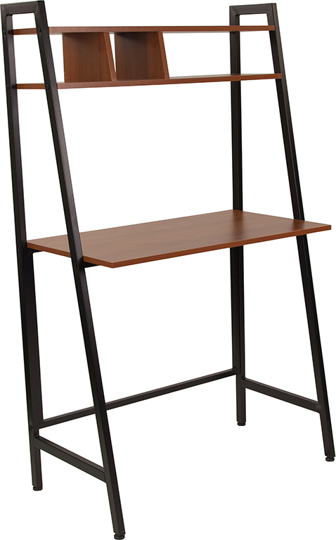 Wholesale Wilmette Cherry Wood Grain Finish Computer Desk with Storage Shelf and Black Metal Frame