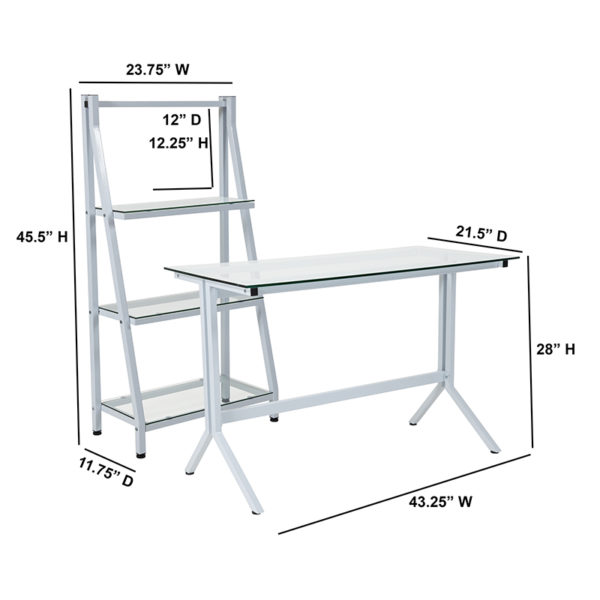 Lowest Price Winfield Collection Glass Computer Desk and Bookshelf with White Metal Frame